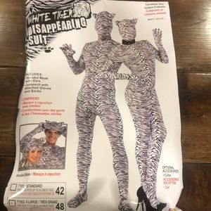 Adult white tiger disappearing suit costume